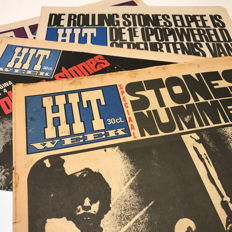 The Rolling Stones, 60s underground weekly Hitweek, lot of 7 original 1966-1968 magazines