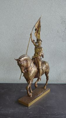 Emmanuel Fremiet (1824-1910) - Jeanne d'Arc - large bronze sculpture with gold patina - France - ca. 1900