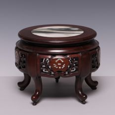 Beautiful hardwood table with a marble top - China - c. 1940