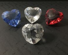 Swarovski - love heart silver shade medium - heart clear, blue and red