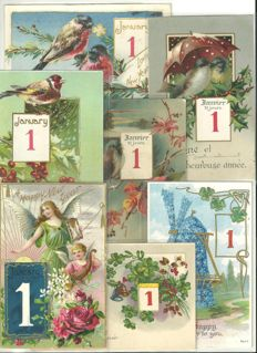 Lot of 57 greetings cards - Happy New Year dated January 1st