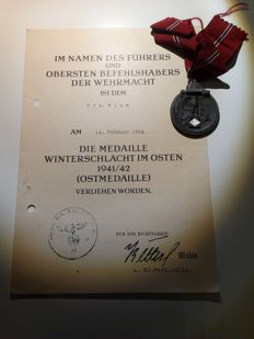 Medal for the Winter Battle in the East 1941/42 with manufacturer's mark and certificate