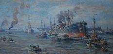 Evert Moll (1878-1955) - Rotterdam harbour view with many ships