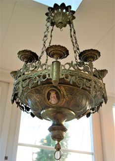 Very special antique Church chandelier with 3 very interesting amulets on gold plated back