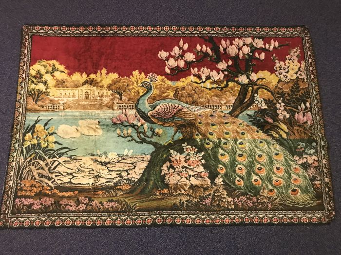 Oriental large tapestry with peacock - 175 cm long - around 1950
