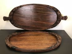 Set of valuable teak wood serving trays with lovely details - Bali, Indonesia - second half 20th century (70 cm)