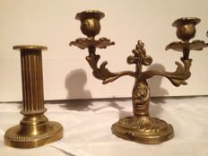 Two very well manufactured bronze candelabra - Ortona manufacture