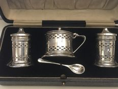 Vintage solid silver 4-piece cruet set - Cooperative Wholesale Society Ltd - Chester - 1932