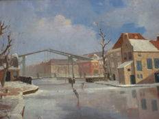 Charle Petite. (20th century) -  Winter in Holland.