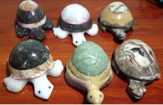 Collection of large carved and polished turtles made of agate (6) - 6.200 kg.