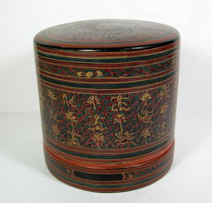 Painted bamboo box - Myanmar (Burma) - second half of the 20th century