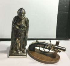 Two vintage lighters - Gun lighter with original stand and Medieval soldier lighter