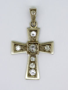 Vintage Platinum Cross Pendant With Diamonds (0.37 CT Total) C.1970's