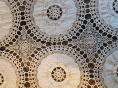 Large King Size Antique Hand-made crochet and embroidered bedspread-France - Ca1910