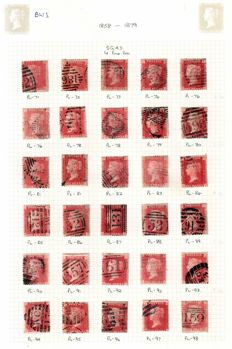 Great Britain Queen Victoria - penny red plates Collection.