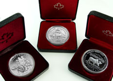 Canada - 1 Dollar 1979,1985 and 1990 'Griffon Ship, National Parks & Henry Kelsey Exploration'- silver
