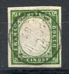 Sardinia, 1855-1863 - Selection of 5 stamps from the fourth edition