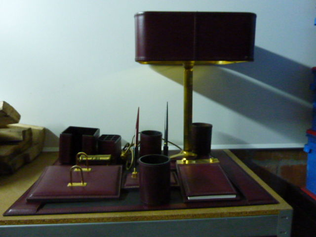 Nice leather desk set with matching lampadair