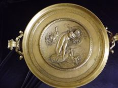 Large Tazza in brass with handles - represents Aphrodite with Angels - by V. Oms - France - circa. 1880