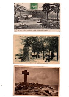 France - lot with 139 old postcards, some semi-modern postcards of cities, villages, churches, castles and others