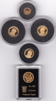 World - lot of 5 coins - gold