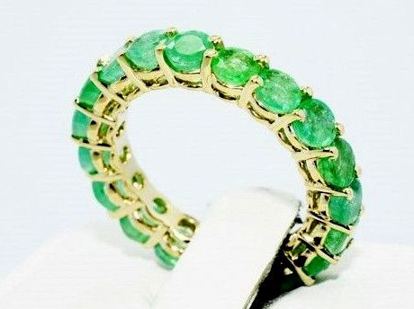 Yellow gold ring with natural emeralds - 4.78 ct -no reserve price-