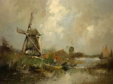 Harry van Dongen (1909) - Hollands water landschap met molens en boten