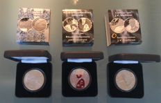 "Finland - 10 Euro 2005 ""Unknown Soldier"" & 2006 ""Parliament"" & 2006 ""Snellman"" in a box-set (3 coins) - silver"