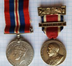 THE KINGS MEDAL WITH BAR 1914-15 - NAMED and a medal from the 2nd World War