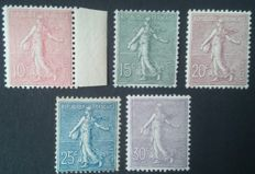 France 1903 - Complete series, Semeuse lined including 1 stamp signed Brun - Yvert no. 129/133