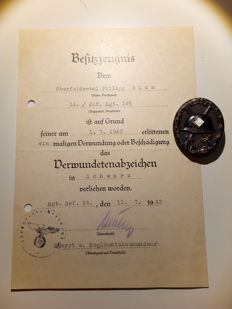 Wounded badge (1939) in black with manufacturer's mark L16 and certificate