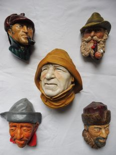Bossons character heads, lot of 5 various brocante heads