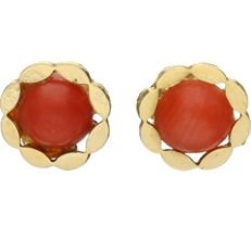 14 kt. – Yellow gold ear studs, each set with a cabochon cut precious coral - Diameter: 7.5 mm