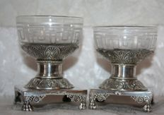 Pair of salt cellars in sterling silver and cut crystal, Restoration period, France