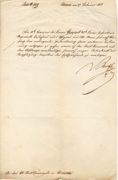 Field marshal Joseph Radetzky's signature for sending troops - Verona 1851