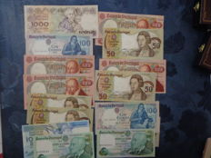 Portugal - 30 banknotes of 1 x 1000, 4 x 500, 3 x 100, 5 x 50 and 17 x 20 escudos