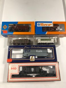 Fleischmann / Roco / Lima H0 - Diverse set of Saddle bottoms / Coal cars / Philips power car / Freight carriage