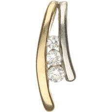 14 kt bi-colour white/yellow gold pendant set with brilliant cut diamonds of approx. 0.025 ct in total - length x width: 1.1 x 0.4 cm