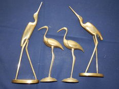 Collection of 4 solid brass figurines of 4 birds