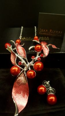 JOAN RIVERS - Silver-Red Necklace with matching Earrings