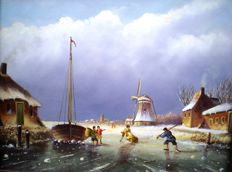 Unknown (20th century) - Winterlandschap met schaatsers