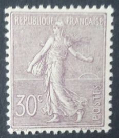 France 1903 – lined Sower, 30 c. lilac – Yvert # 133