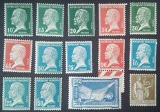 France 1924-33 – Complete Pasteur series, 1 f. 25 Peace type and JO 50 c. Blue and ultramarine - Yvert # 186, 170-81 and 287