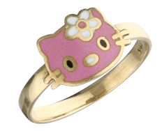 14 kt. - Yellow gold ring in the shape of Hello Kitty with white and pink enamel - Ring size: 15.75 mm