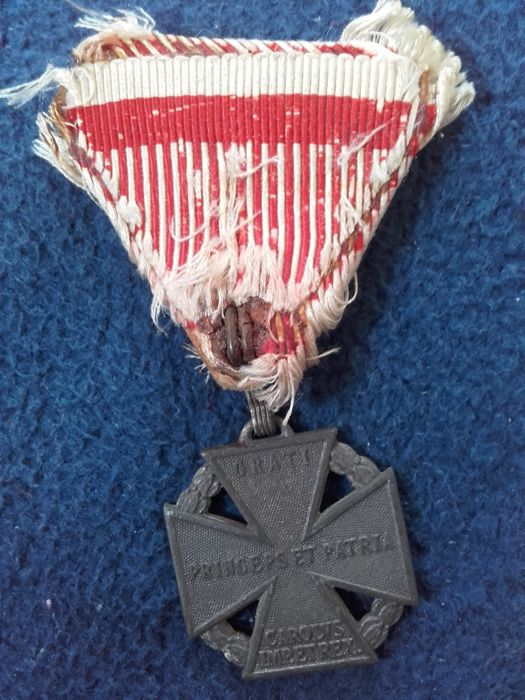 1916, 1st Word War, Emperor Charles of Habsburg, troop cross on original red/white ribbon, rare refined zinc version with three-ring eyelet