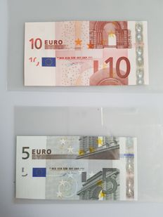 European Union - 5 and 10 euros 2002 - Duisenberg - Intentionally cut wrong