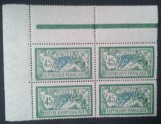 France 1907 – Merson, 45 c. green and blue, block of 4 with sheet corner - Yvert #143