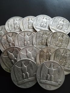 Italy, Kingdom - 5 lire, 1927 and 1929 (15 pieces) - silver