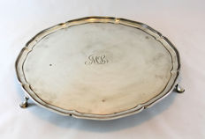Victorian Silver Tray On Feet engraved with initials - Edward & Sons - Sheffield - 1894