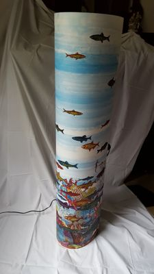 "Fornasetti for Antonangeli - Large floor lamp with an aquarium theme ""Follia pratica"" (Practical folly)"